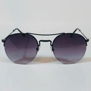 Other - Black Semi Rimless Circle Sunglasses